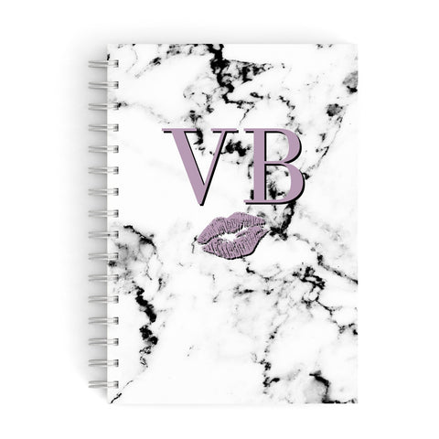 Personalised Lipstick Kiss Initials Marble A5 Hardcover Notebook