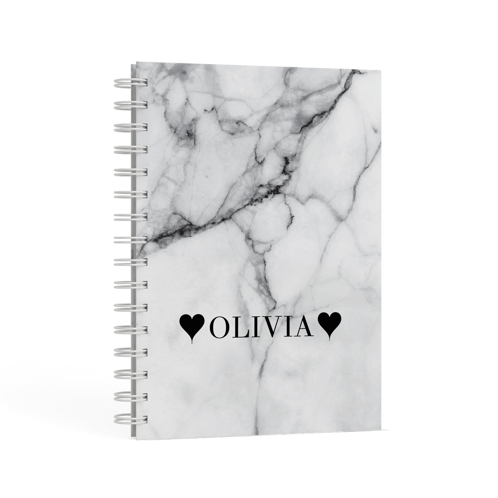 Personalised Love Hearts Marble Name A5 Hardcover Notebook Second Side View