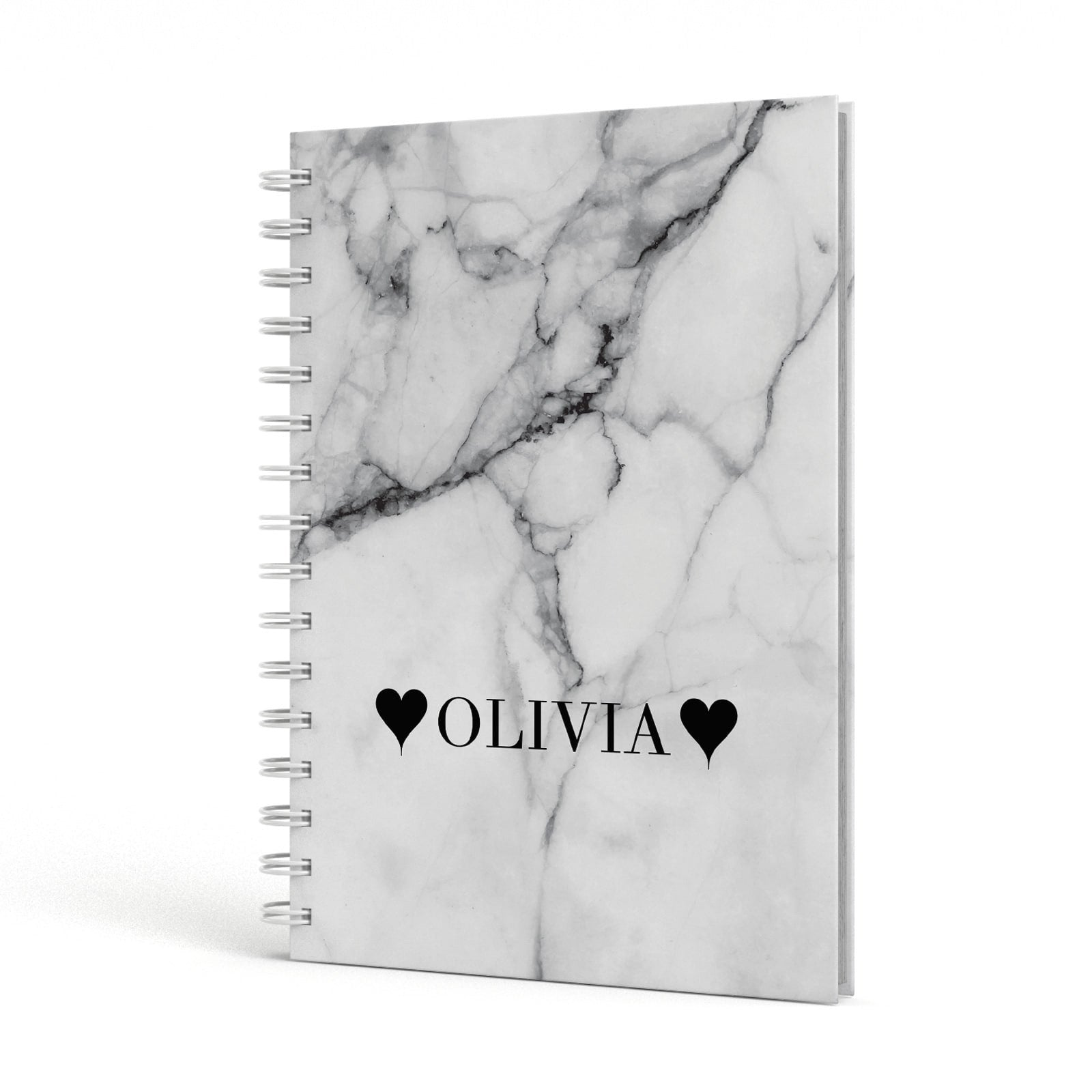 Personalised Love Hearts Marble Name A5 Hardcover Notebook Side View