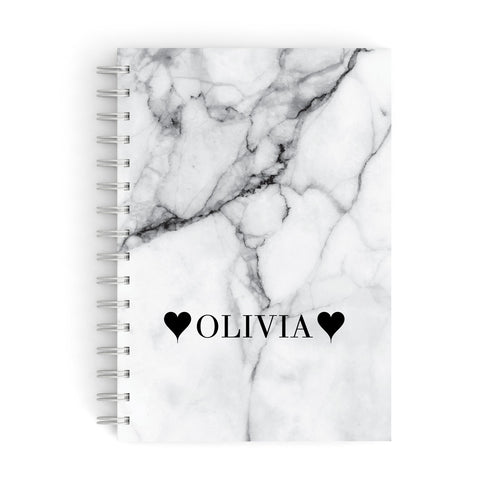 Personalised Love Hearts Marble Name A5 Hardcover Notebook