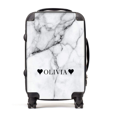 Personalised Love Hearts Marble Name Suitcase