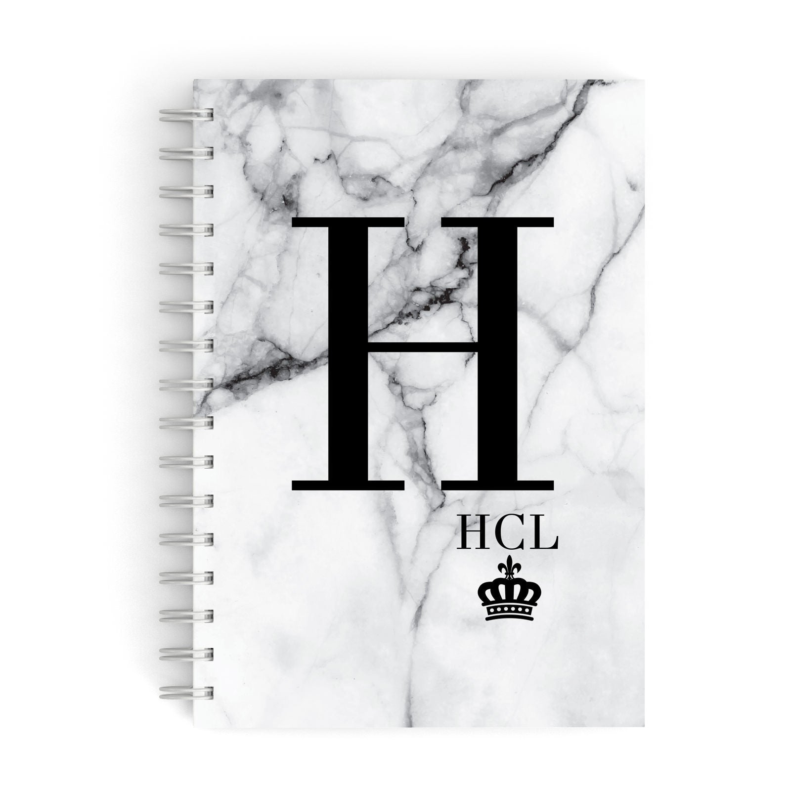 Personalised Marble Big & Small Initials A5 Hardcover Notebook