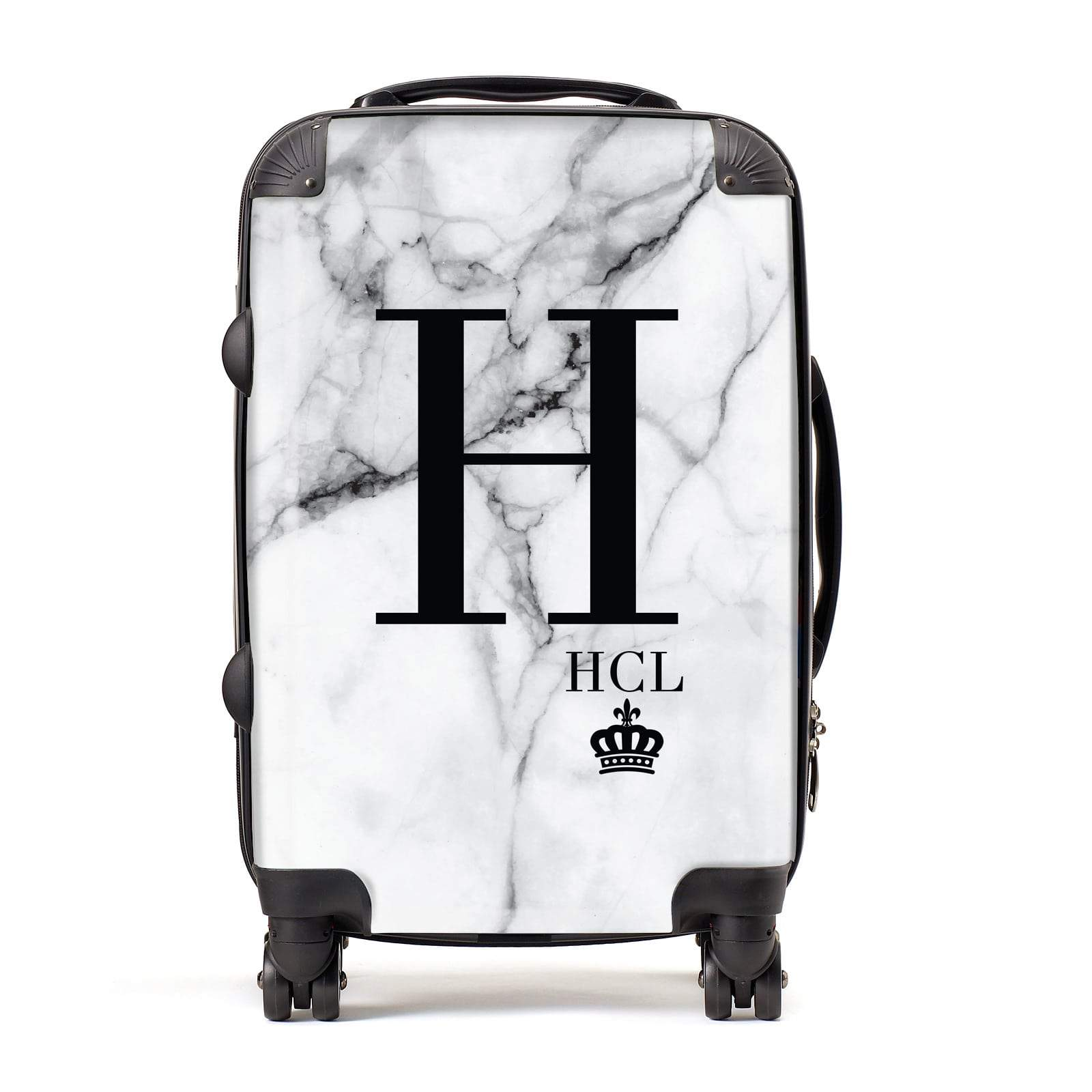 Personalised Marble Big & Small Initials Suitcase