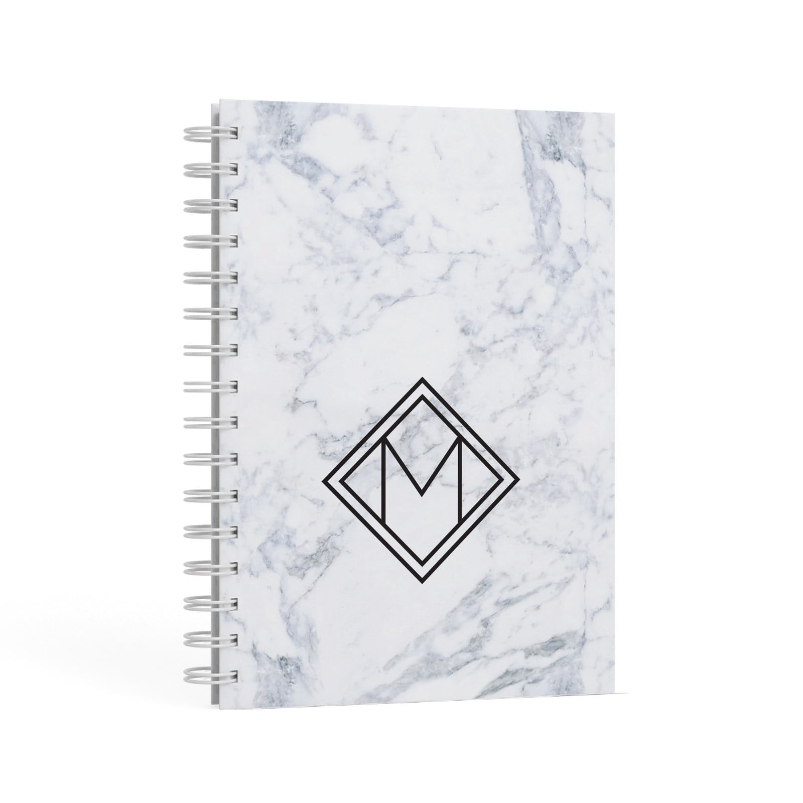 Personalised Marble Customised Initials A5 Hardcover Notebook Second Side View