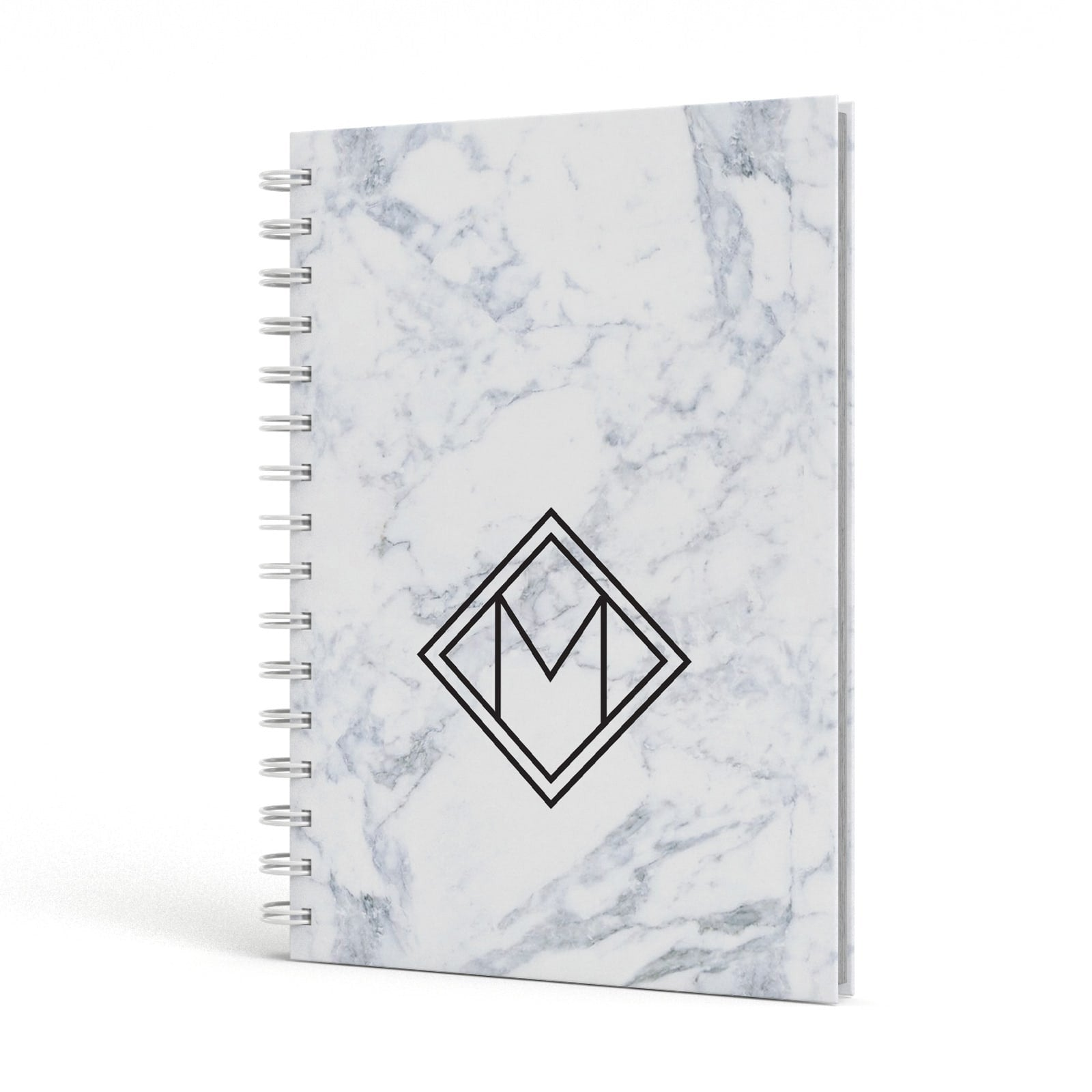 Personalised Marble Customised Initials A5 Hardcover Notebook Side View