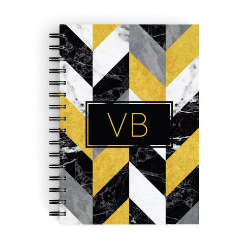 Personalised Marble Effect Initials A5 Hardcover Notebook
