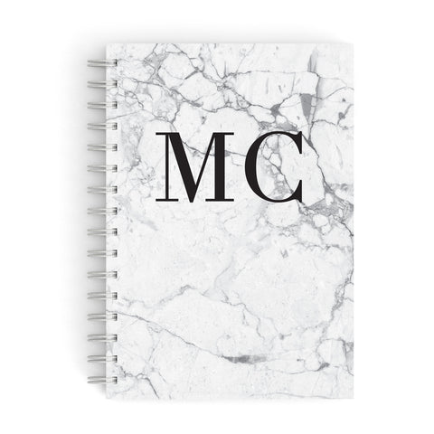 Personalised Marble Initials A5 Hardcover Notebook