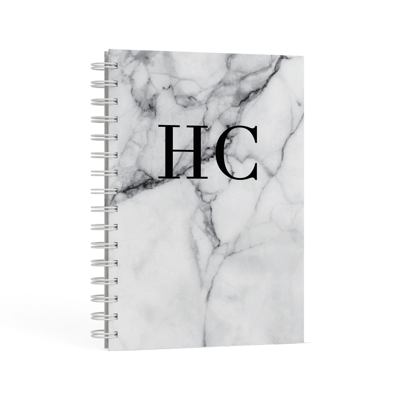 Personalised Marble Initials Monogram A5 Hardcover Notebook Second Side View