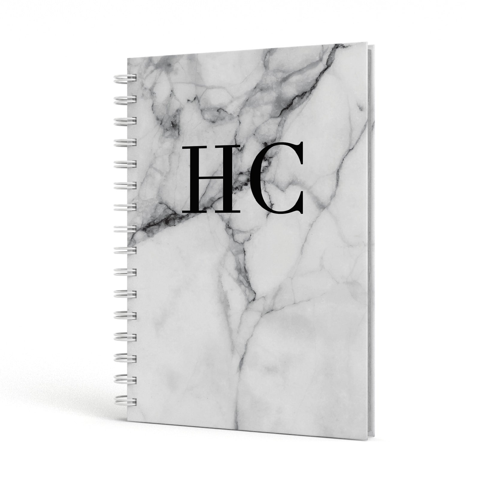 Personalised Marble Initials Monogram A5 Hardcover Notebook Side View