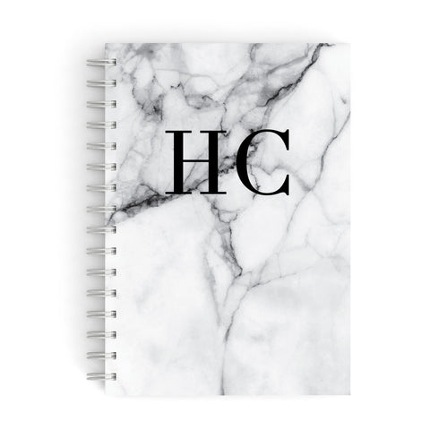 Personalised Marble Initials Monogram A5 Hardcover Notebook