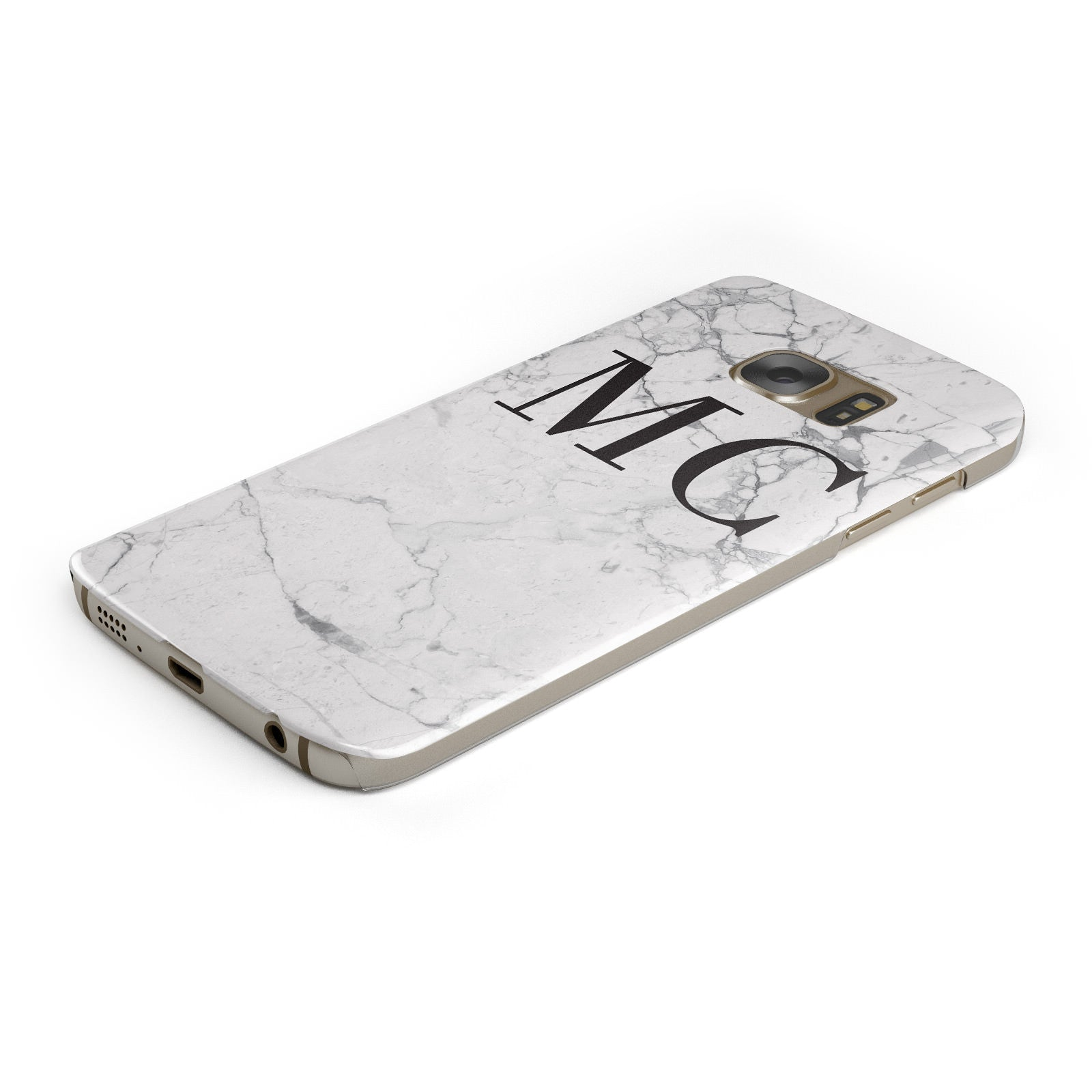 Personalised Marble Initials Samsung Galaxy Case Bottom Cutout