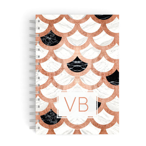 Personalised Marble Initials Scales A5 Hardcover Notebook