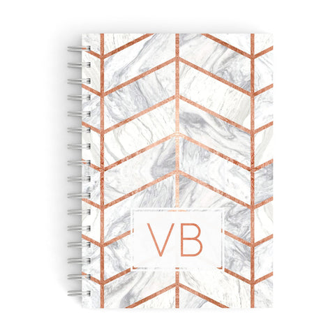 Personalised Marble Initials Shapes A5 Hardcover Notebook