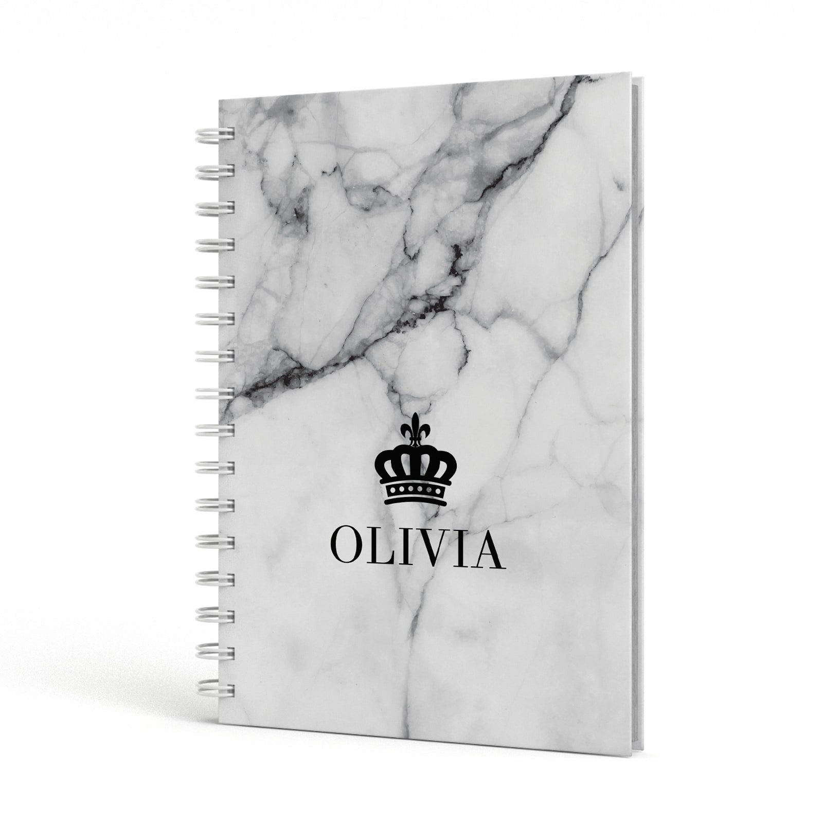 Personalised Marble Name Crown A5 Hardcover Notebook Side View