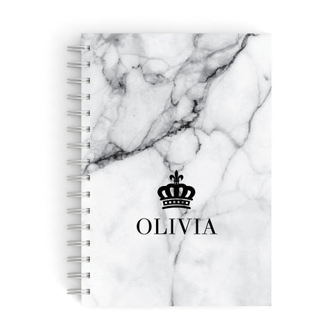 Personalised Marble Name Crown A5 Hardcover Notebook