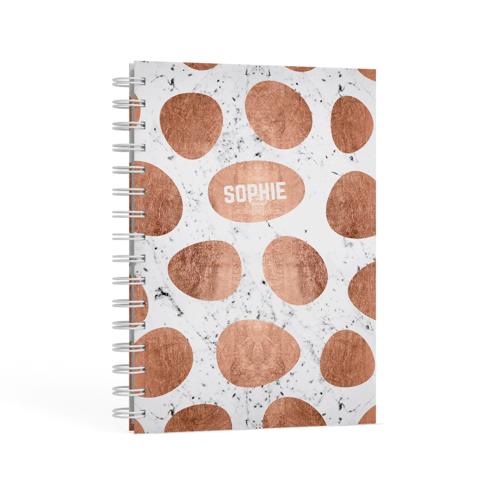 Personalised Marble Name Initials Rose Gold Dots A5 Hardcover Notebook Second Side View