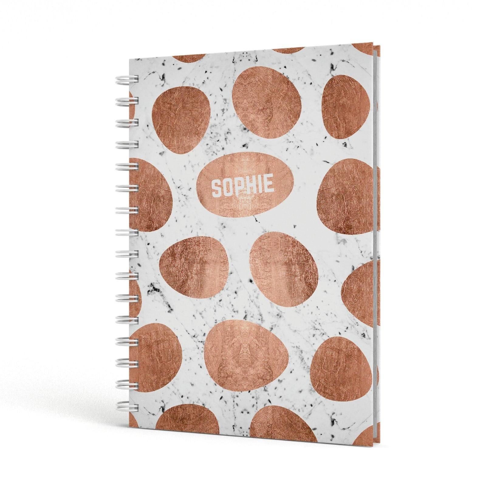 Personalised Marble Name Initials Rose Gold Dots A5 Hardcover Notebook Side View