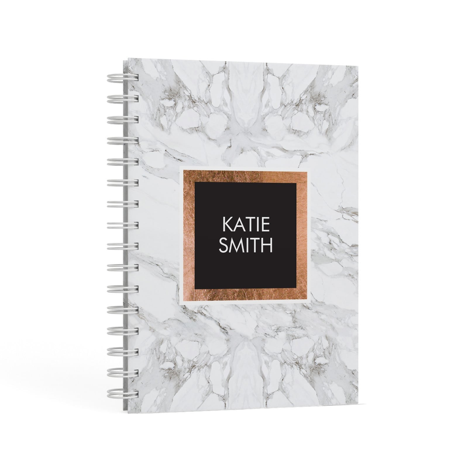 Personalised Marble Name Text Initials A5 Hardcover Notebook Second Side View