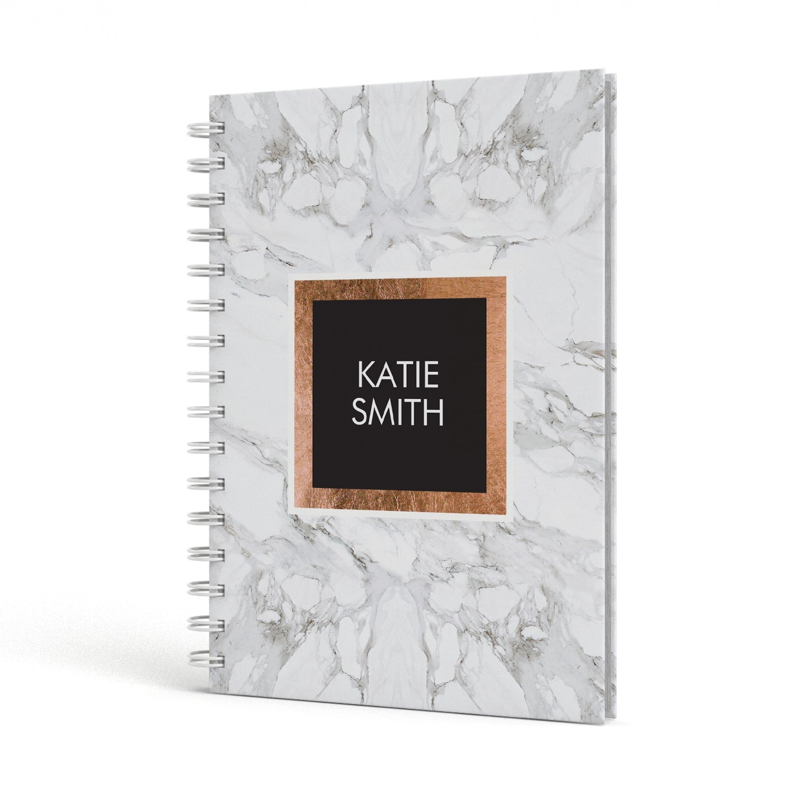 Personalised Marble Name Text Initials A5 Hardcover Notebook Side View
