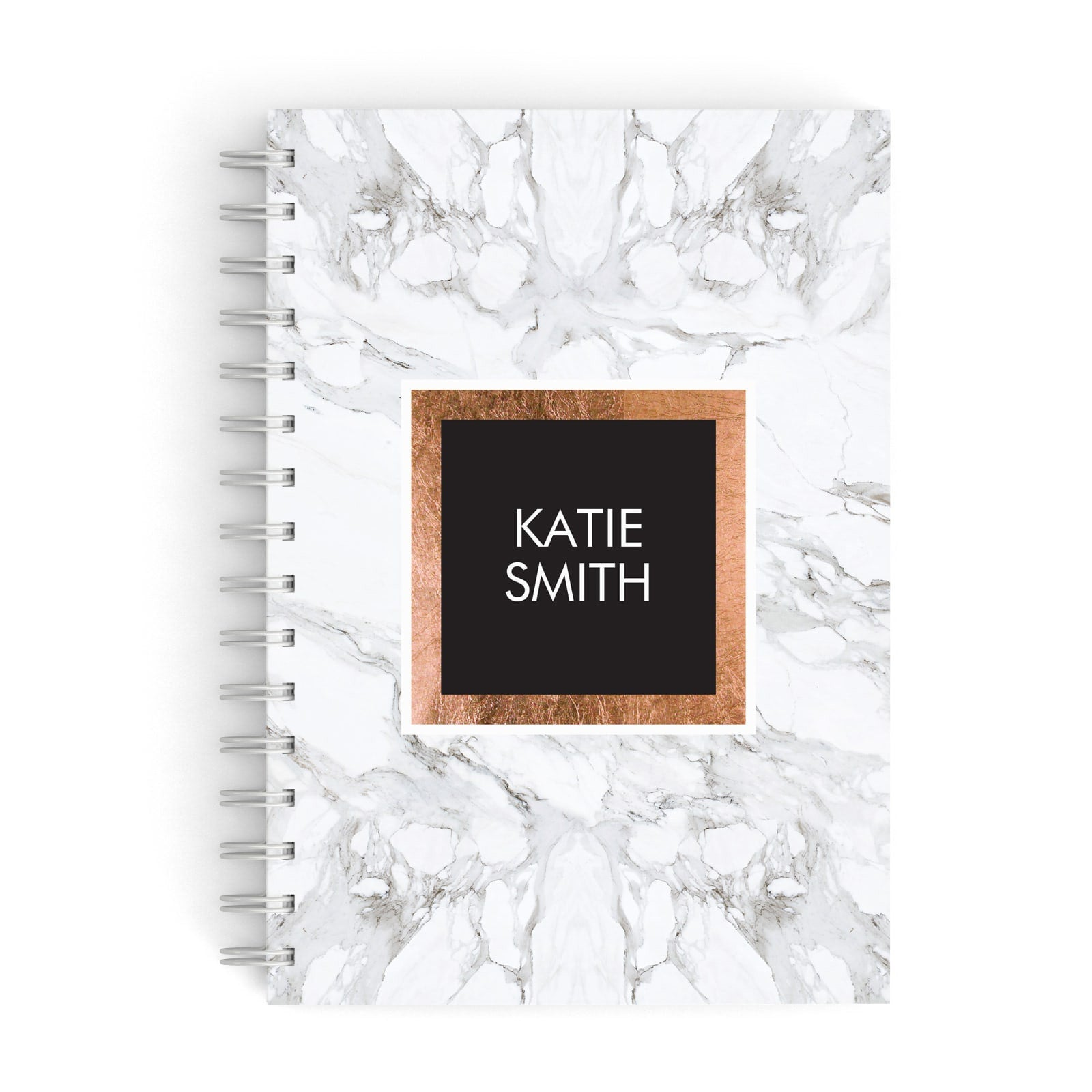 Personalised Marble Name Text Initials A5 Hardcover Notebook