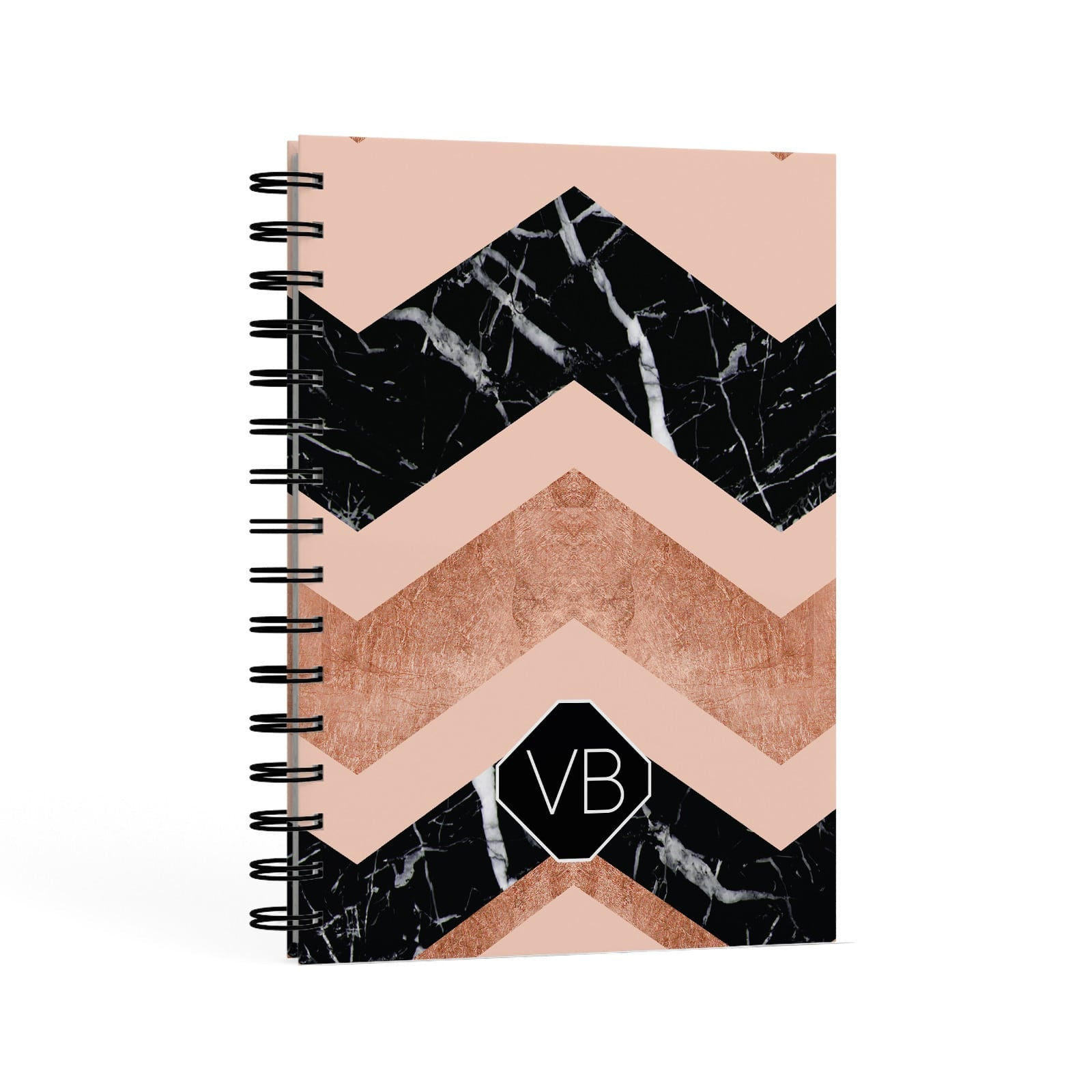 Personalised Marble Pattern Initials A5 Hardcover Notebook Second Side View
