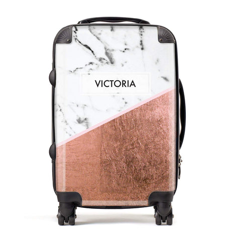 Personalised Marble Rose Gold Name Initials Suitcase