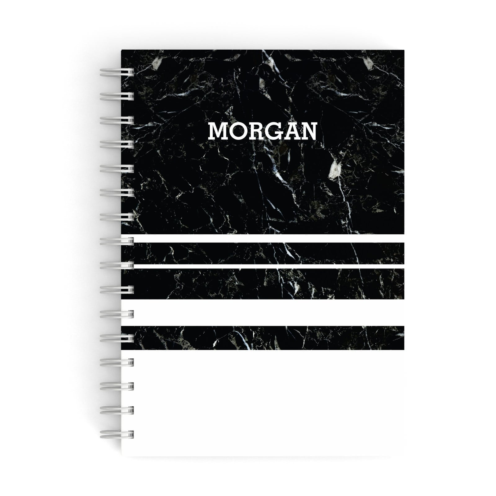 Personalised Marble Stripes Name Initials A5 Hardcover Notebook
