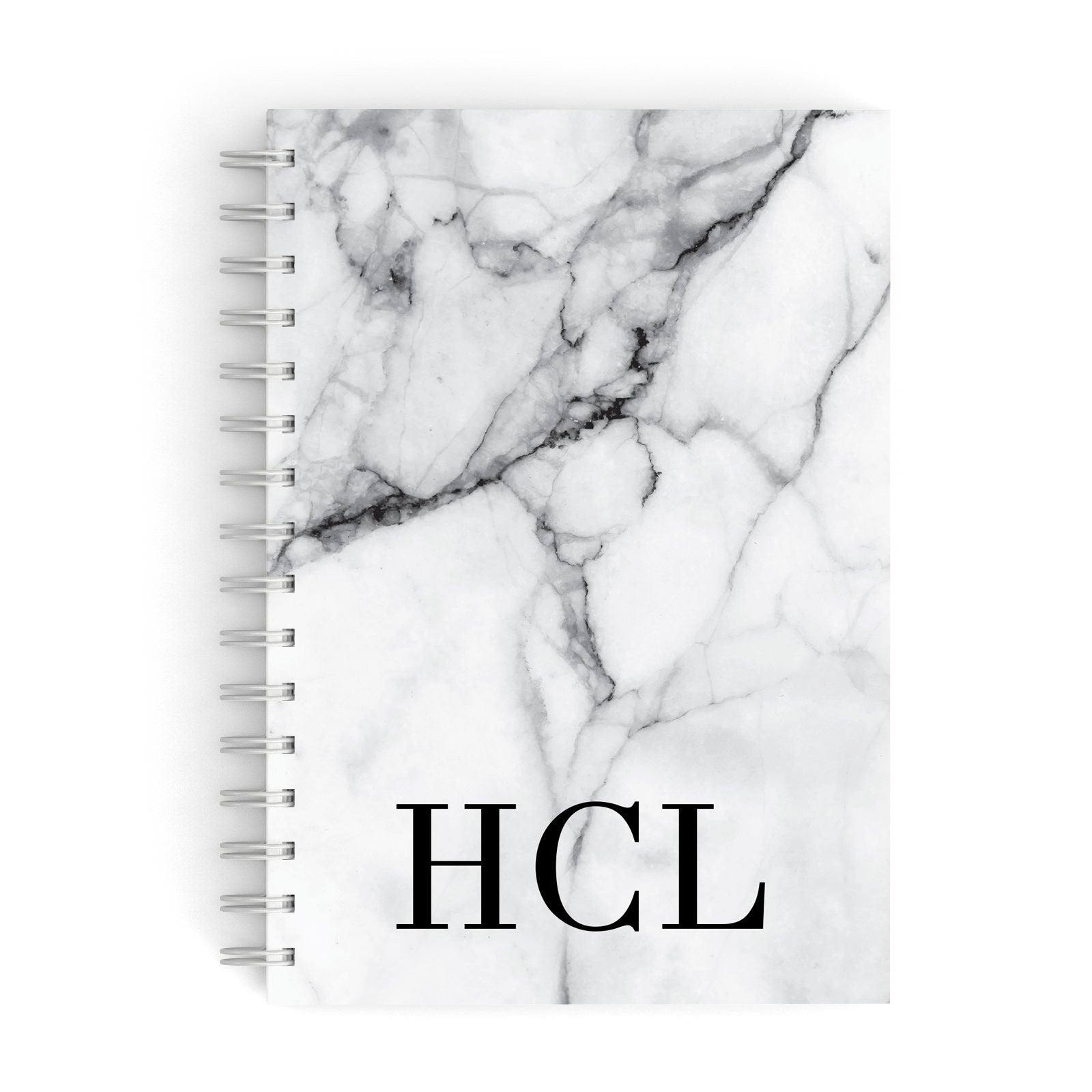 Personalised Medium Marble Initials A5 Hardcover Notebook