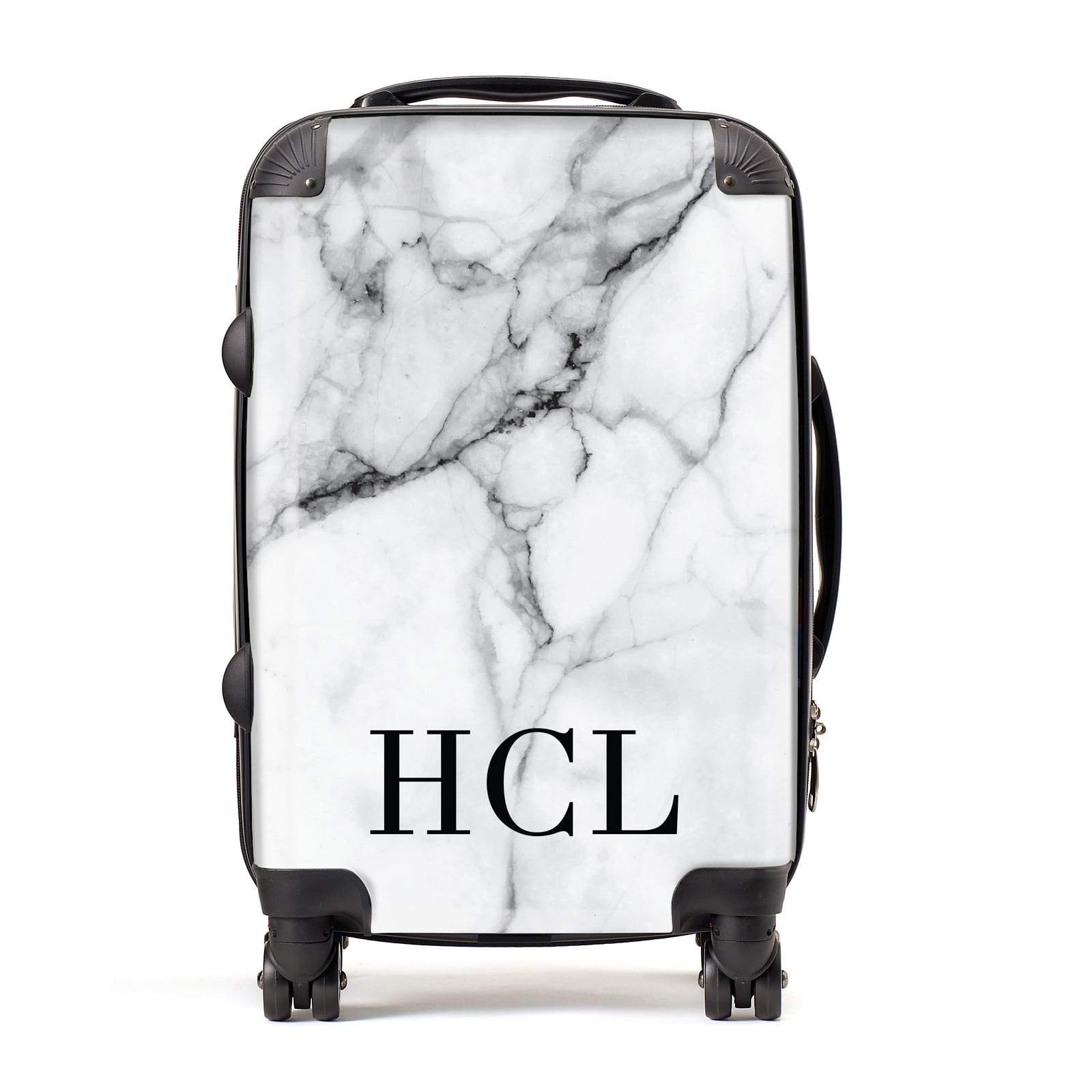 Personalised Medium Marble Initials Suitcase
