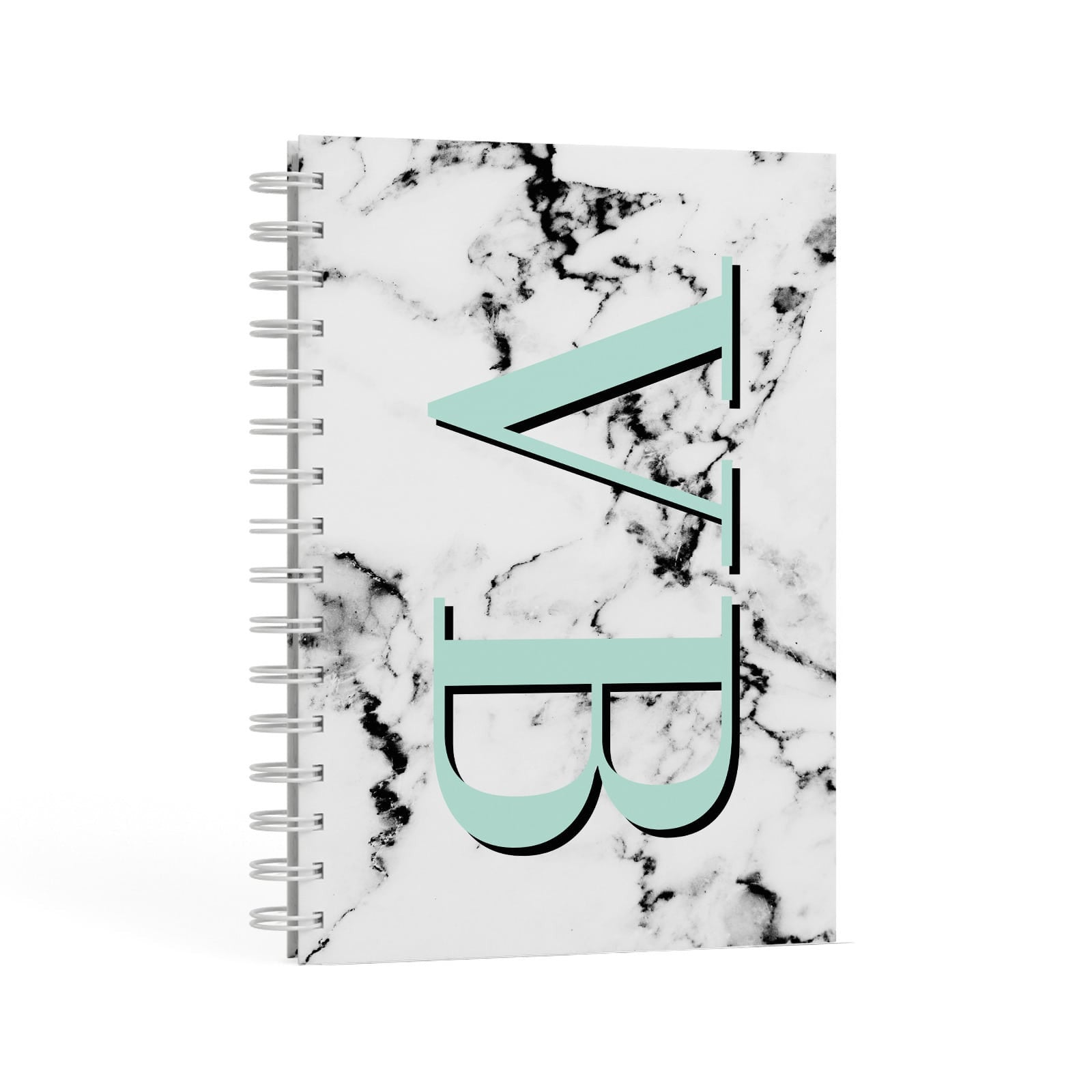 Personalised Mint Big Initials Marble A5 Hardcover Notebook Second Side View