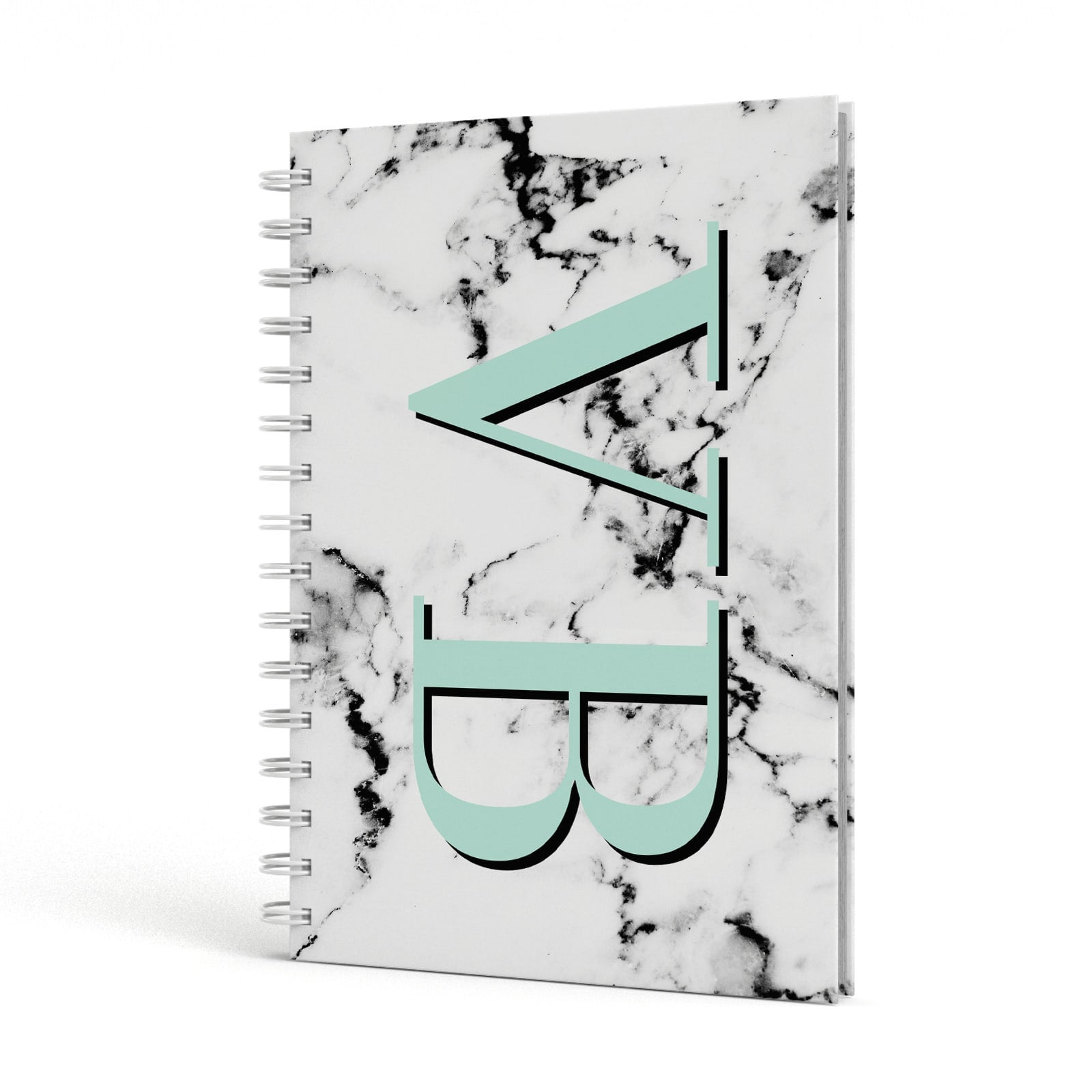 Personalised Mint Big Initials Marble A5 Hardcover Notebook Side View