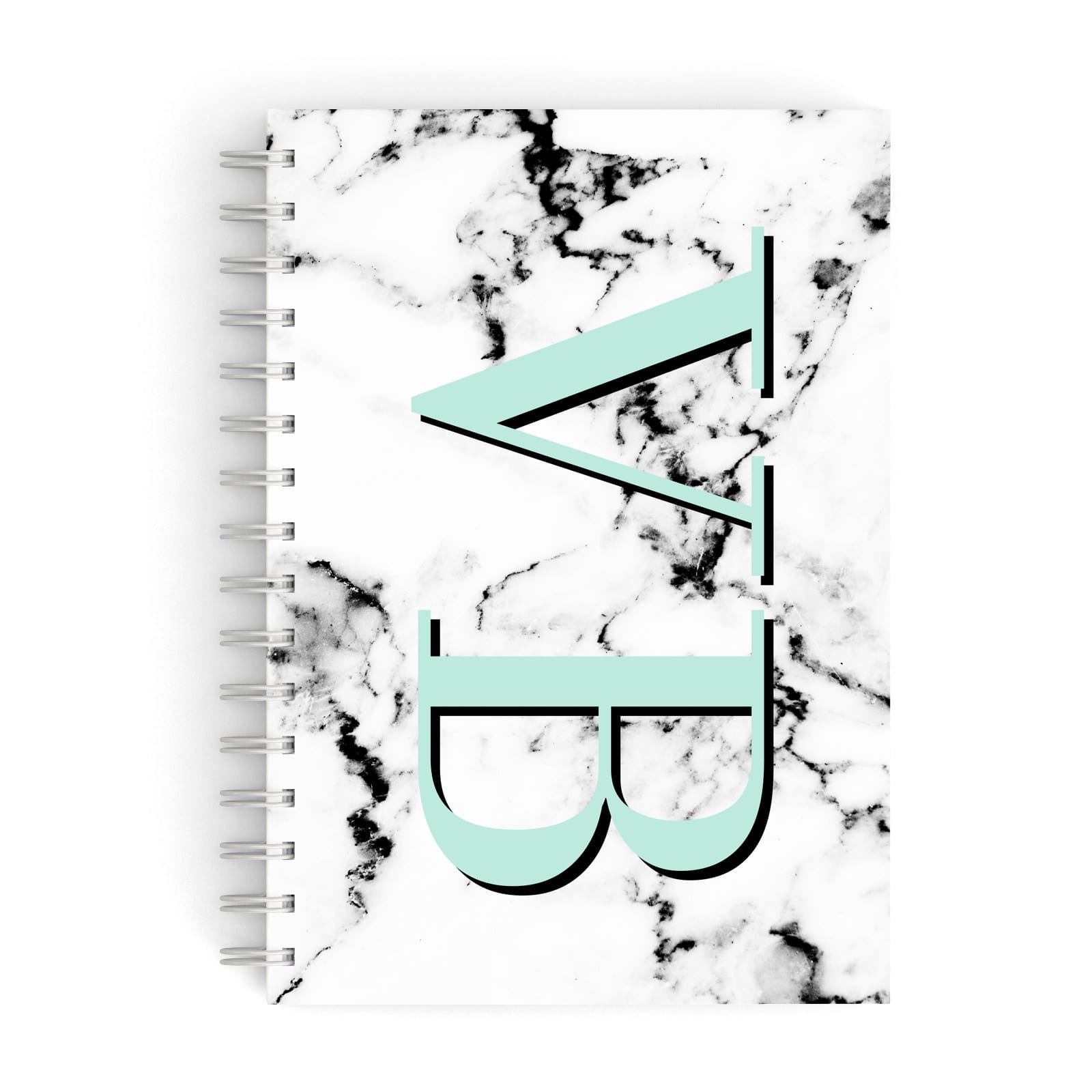 Personalised Mint Big Initials Marble A5 Hardcover Notebook