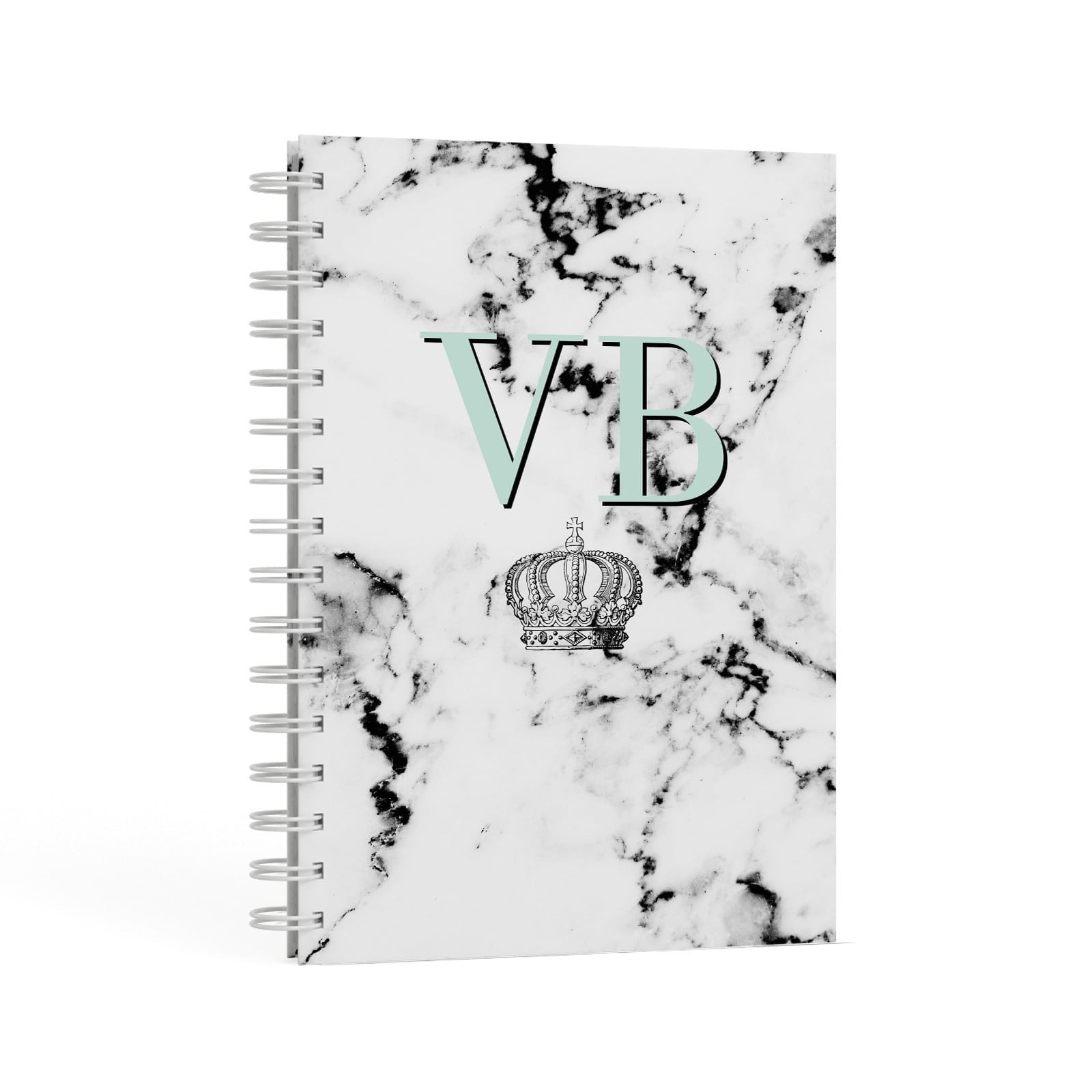 Personalised Mint Crown Initials Marble A5 Hardcover Notebook Second Side View