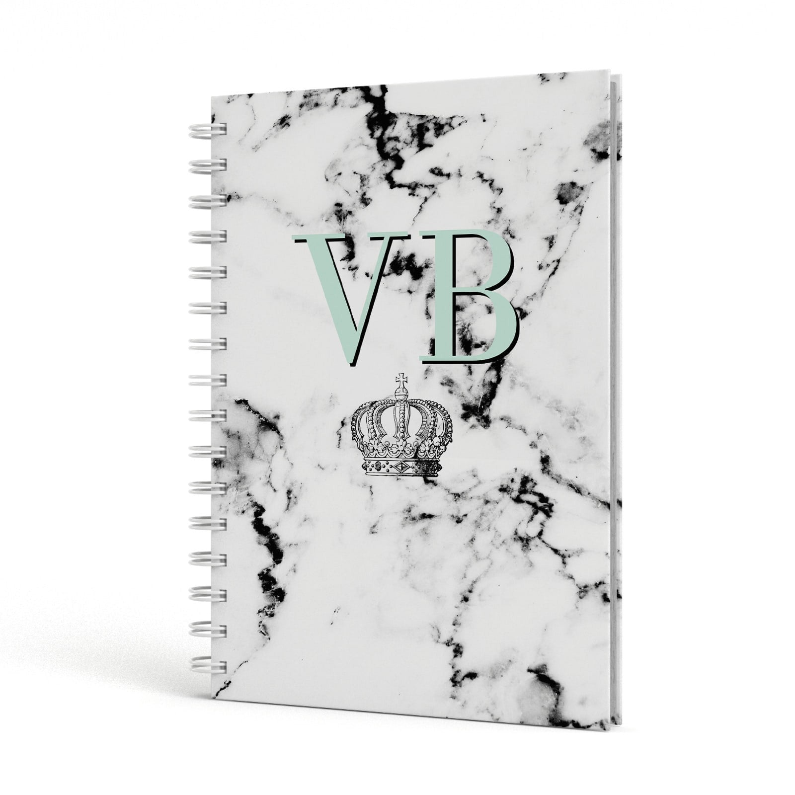 Personalised Mint Crown Initials Marble A5 Hardcover Notebook Side View