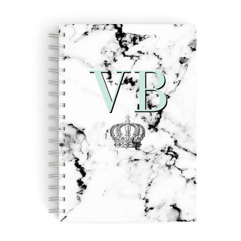 Personalised Mint Crown Initials Marble A5 Hardcover Notebook