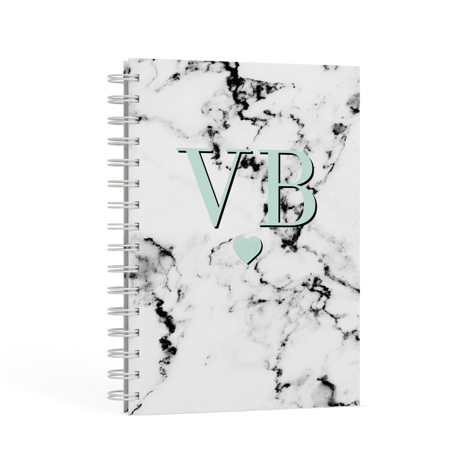 Personalised Mint Initialled Marble Heart A5 Hardcover Notebook Second Side View