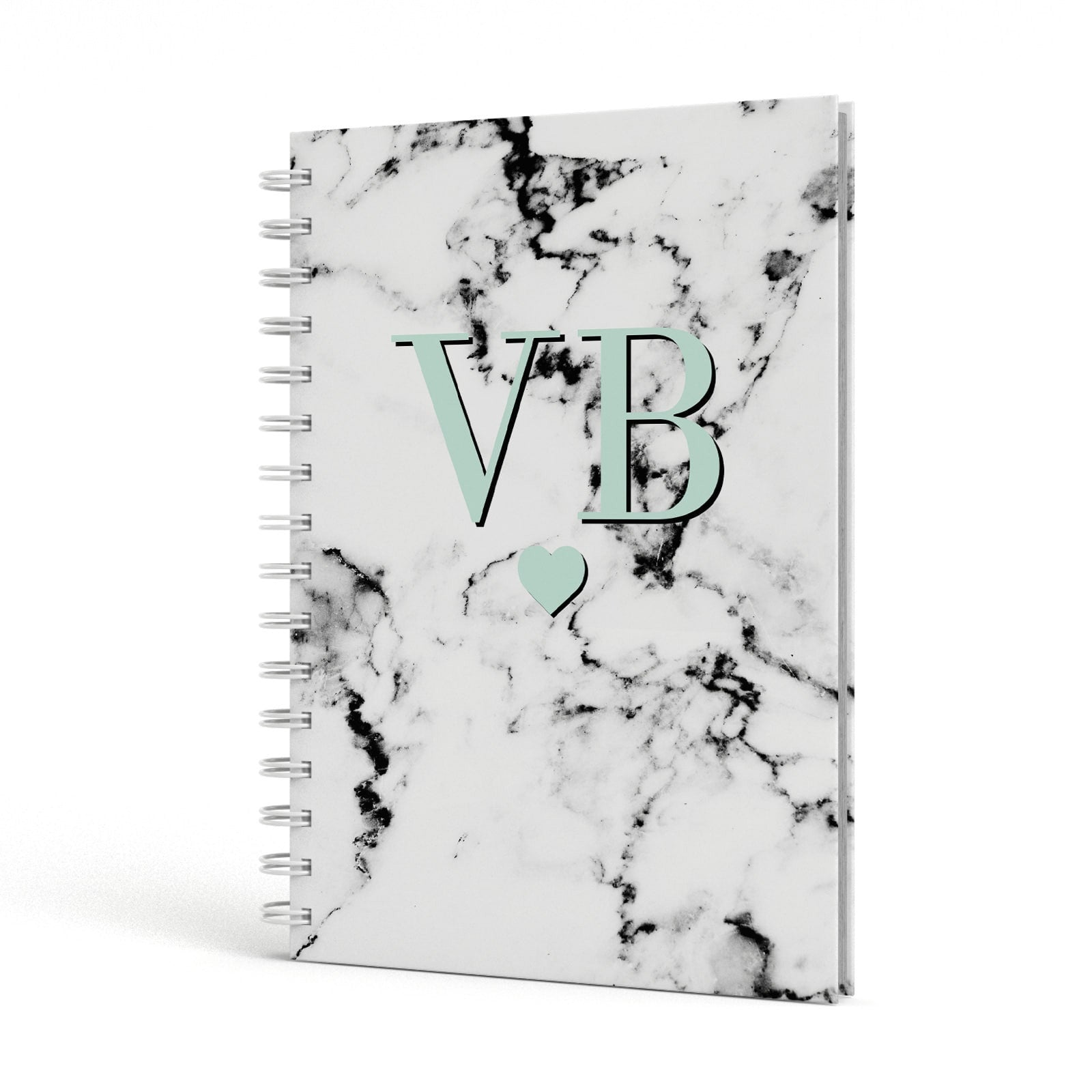 Personalised Mint Initialled Marble Heart A5 Hardcover Notebook Side View