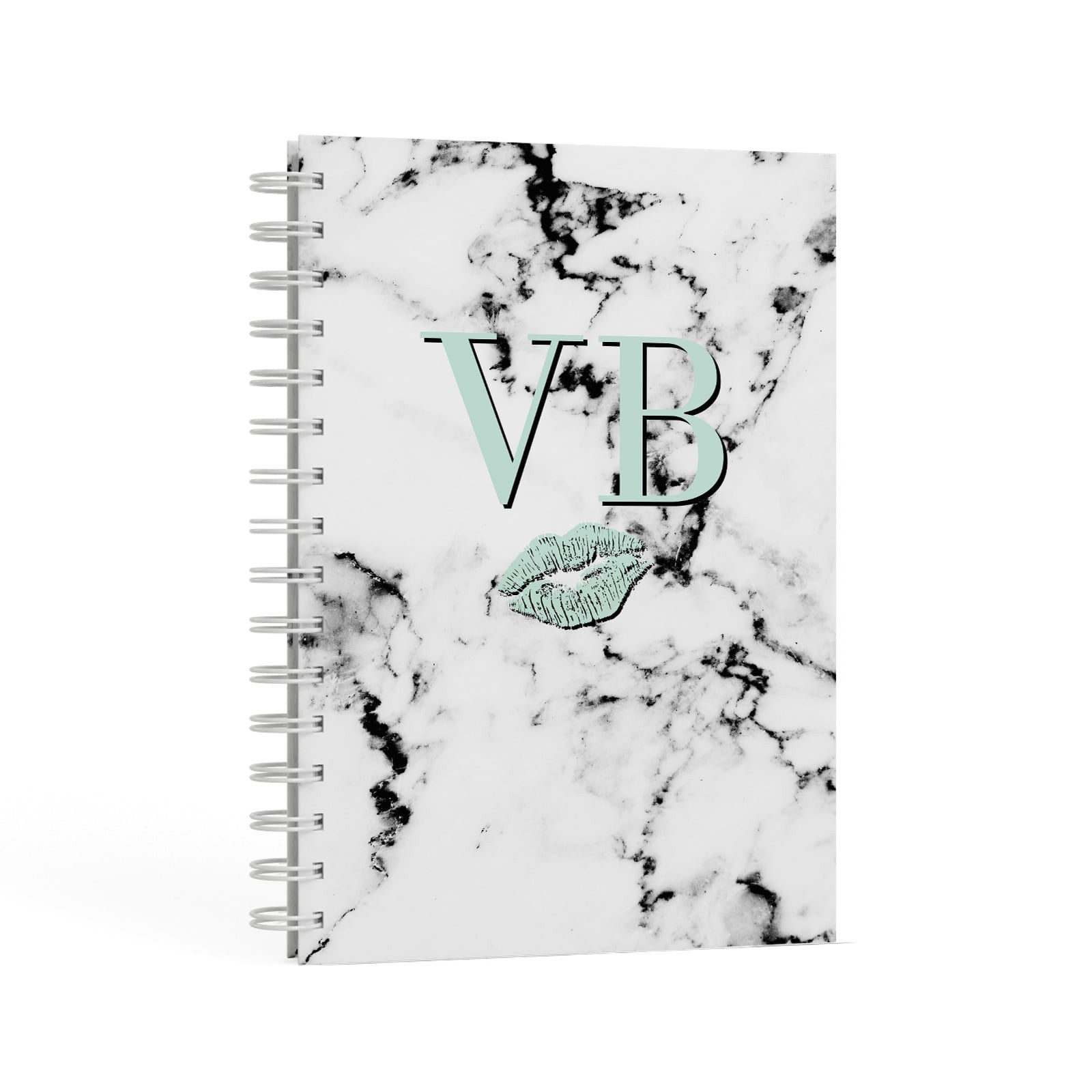 Personalised Mint Lips Initials Marble A5 Hardcover Notebook Second Side View