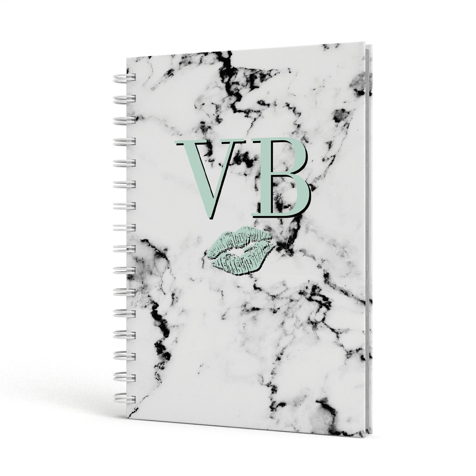 Personalised Mint Lips Initials Marble A5 Hardcover Notebook Side View