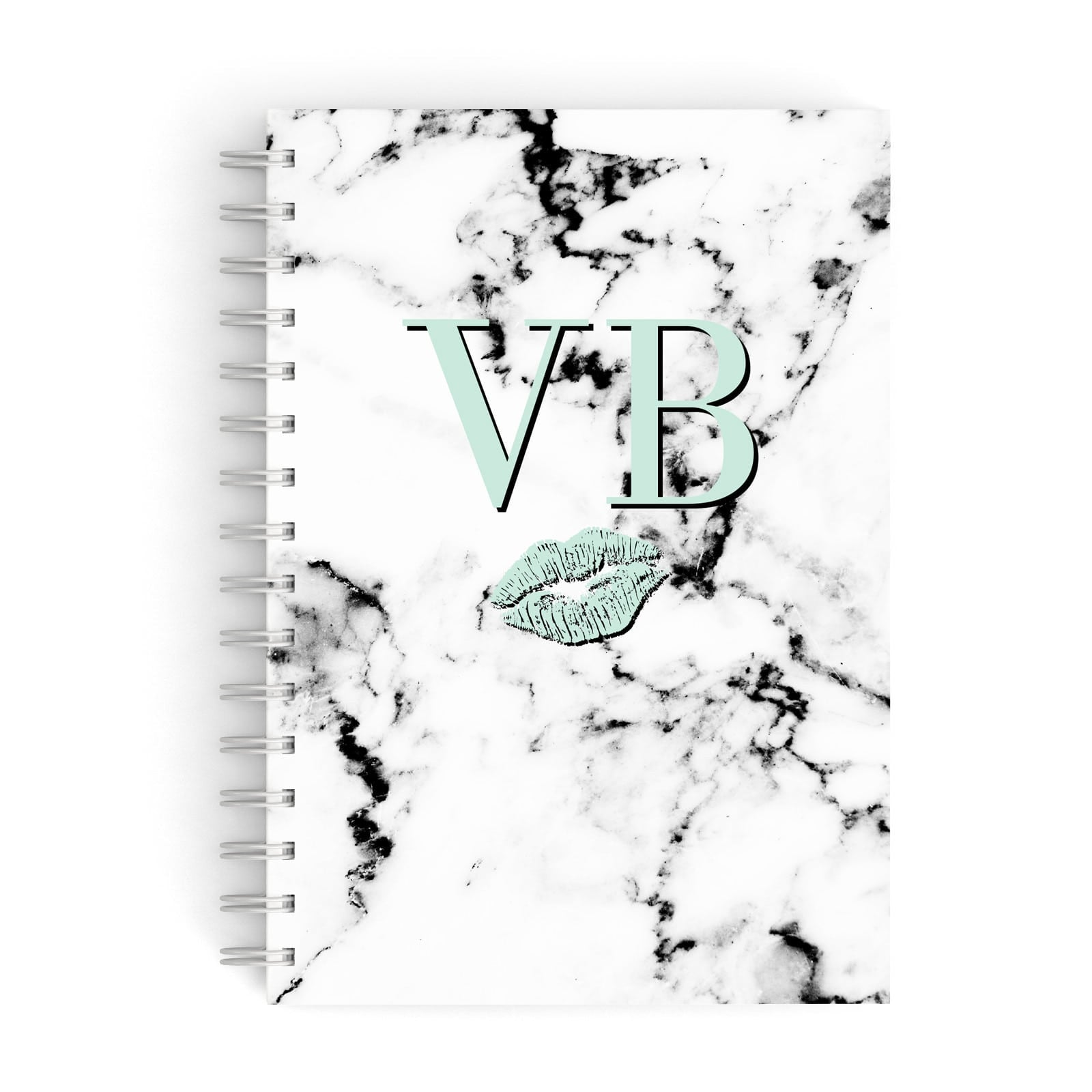 Personalised Mint Lips Initials Marble A5 Hardcover Notebook