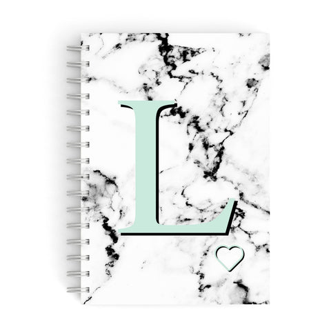 Personalised Mint Monogram Marble Heart A5 Hardcover Notebook
