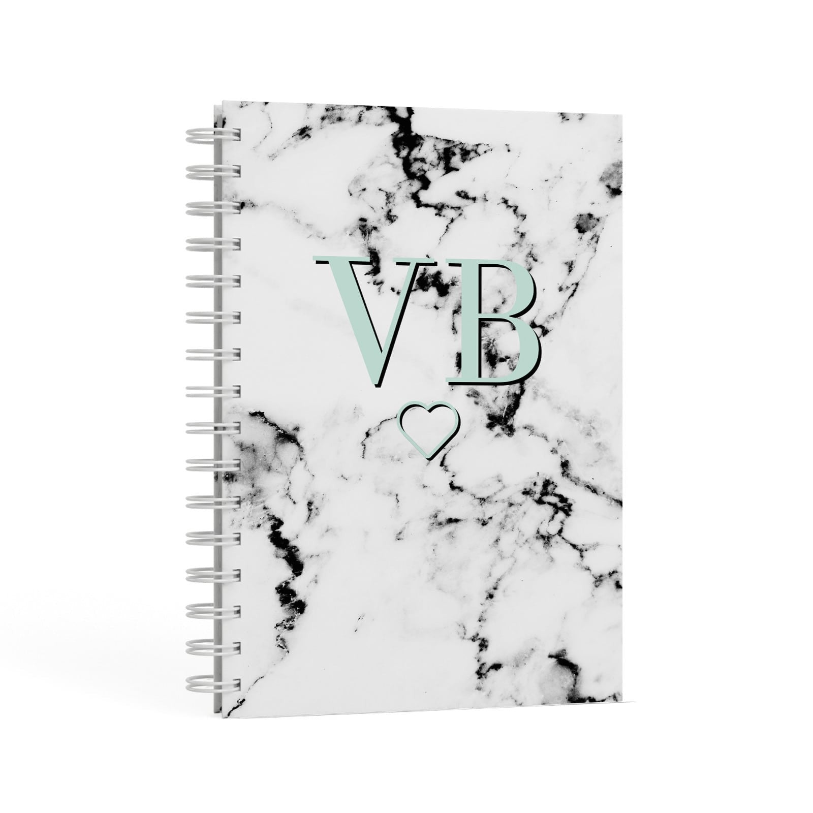 Personalised Mint Monogrammed Heart Marble A5 Hardcover Notebook Second Side View