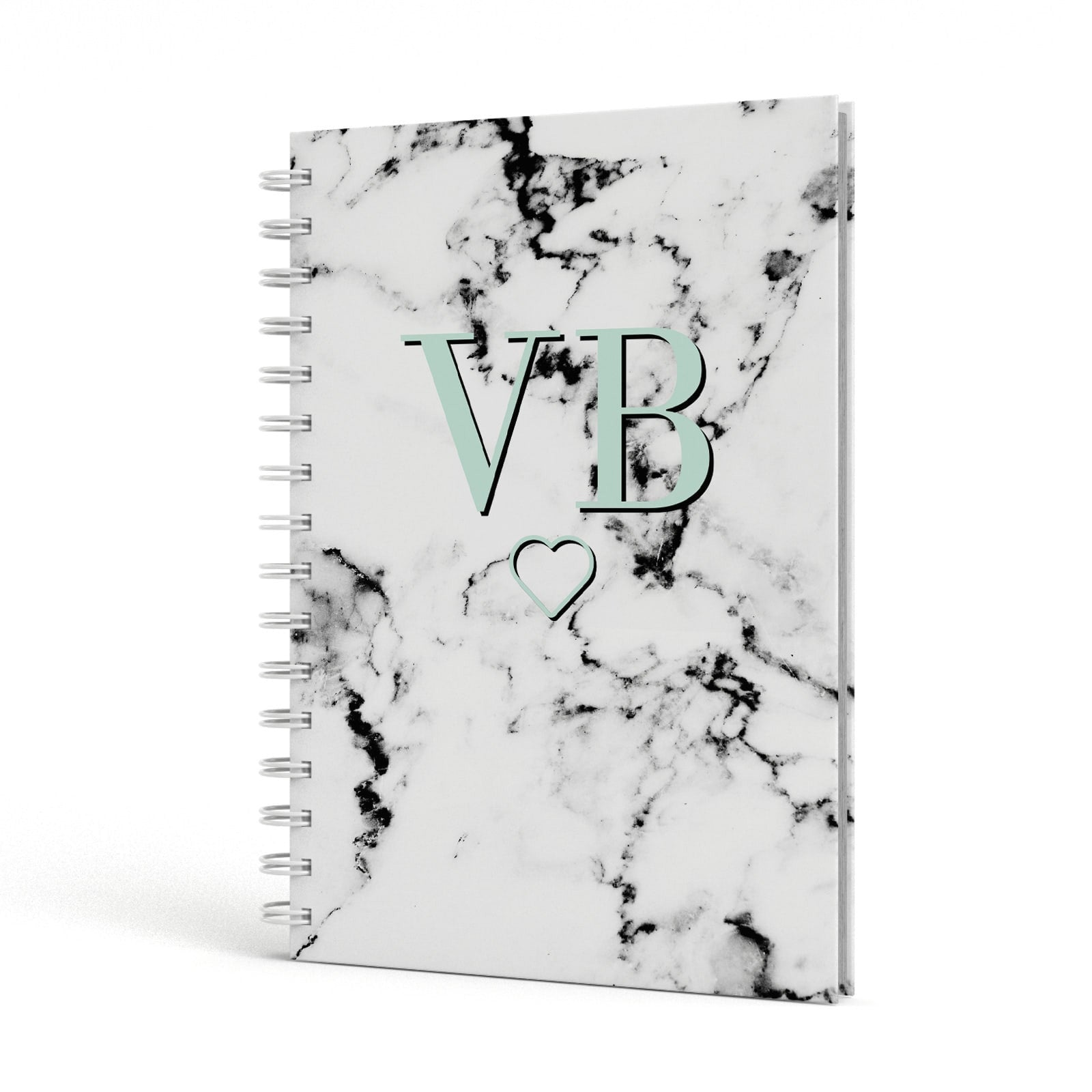 Personalised Mint Monogrammed Heart Marble A5 Hardcover Notebook Side View