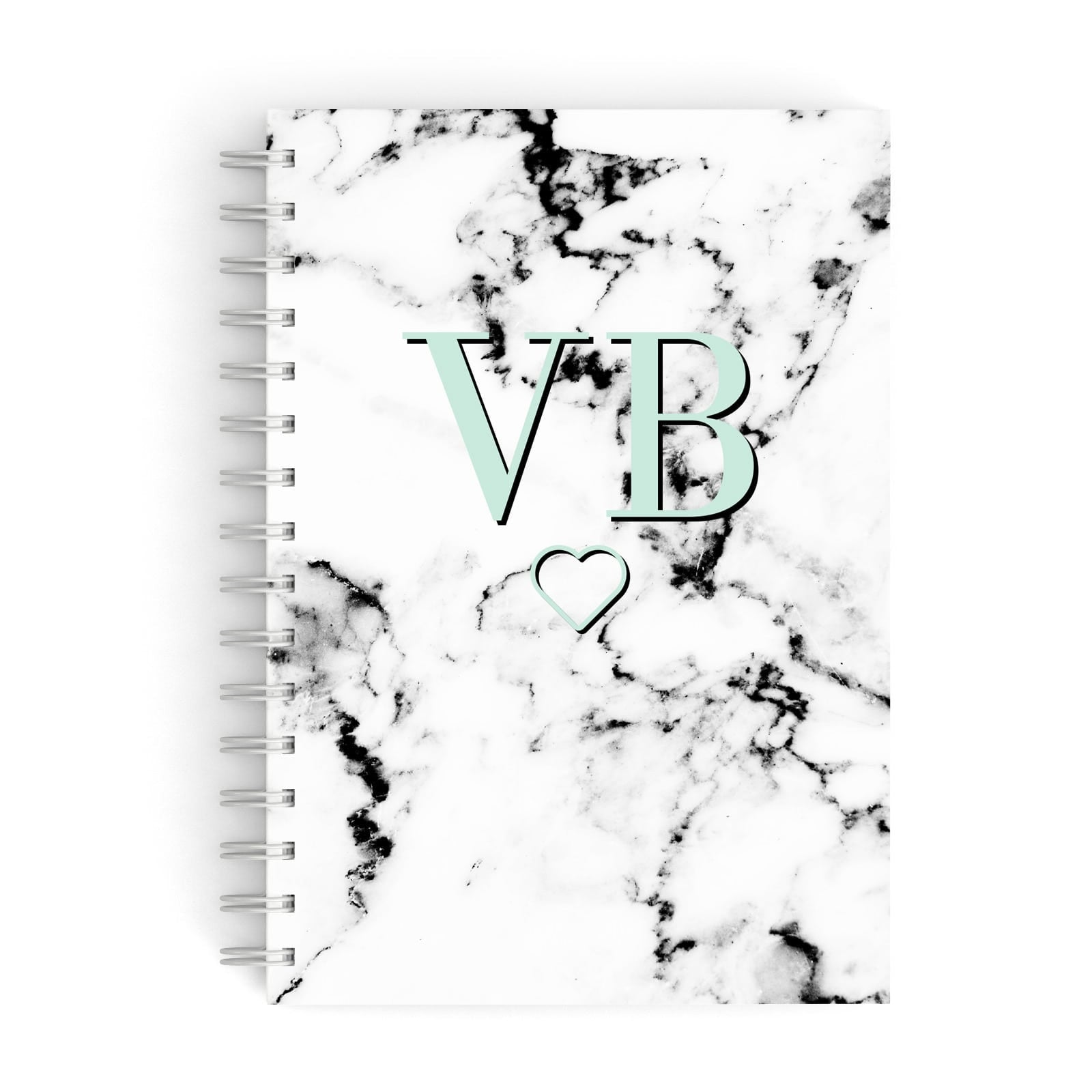 Personalised Mint Monogrammed Heart Marble A5 Hardcover Notebook
