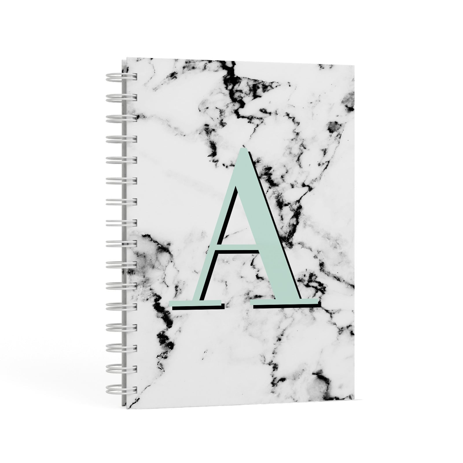 Personalised Mint Single Initial Marble A5 Hardcover Notebook Second Side View