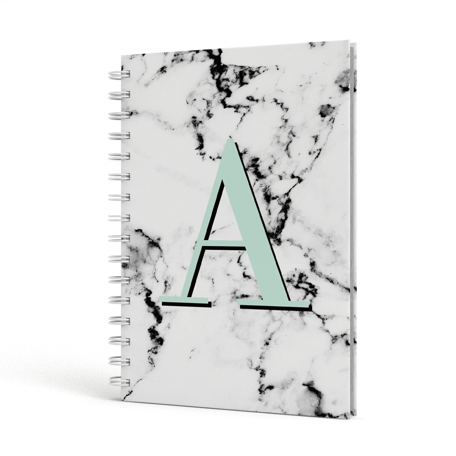 Personalised Mint Single Initial Marble A5 Hardcover Notebook Side View