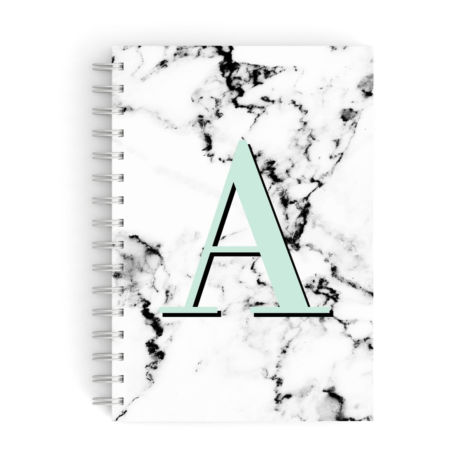 Personalised Mint Single Initial Marble A5 Hardcover Notebook