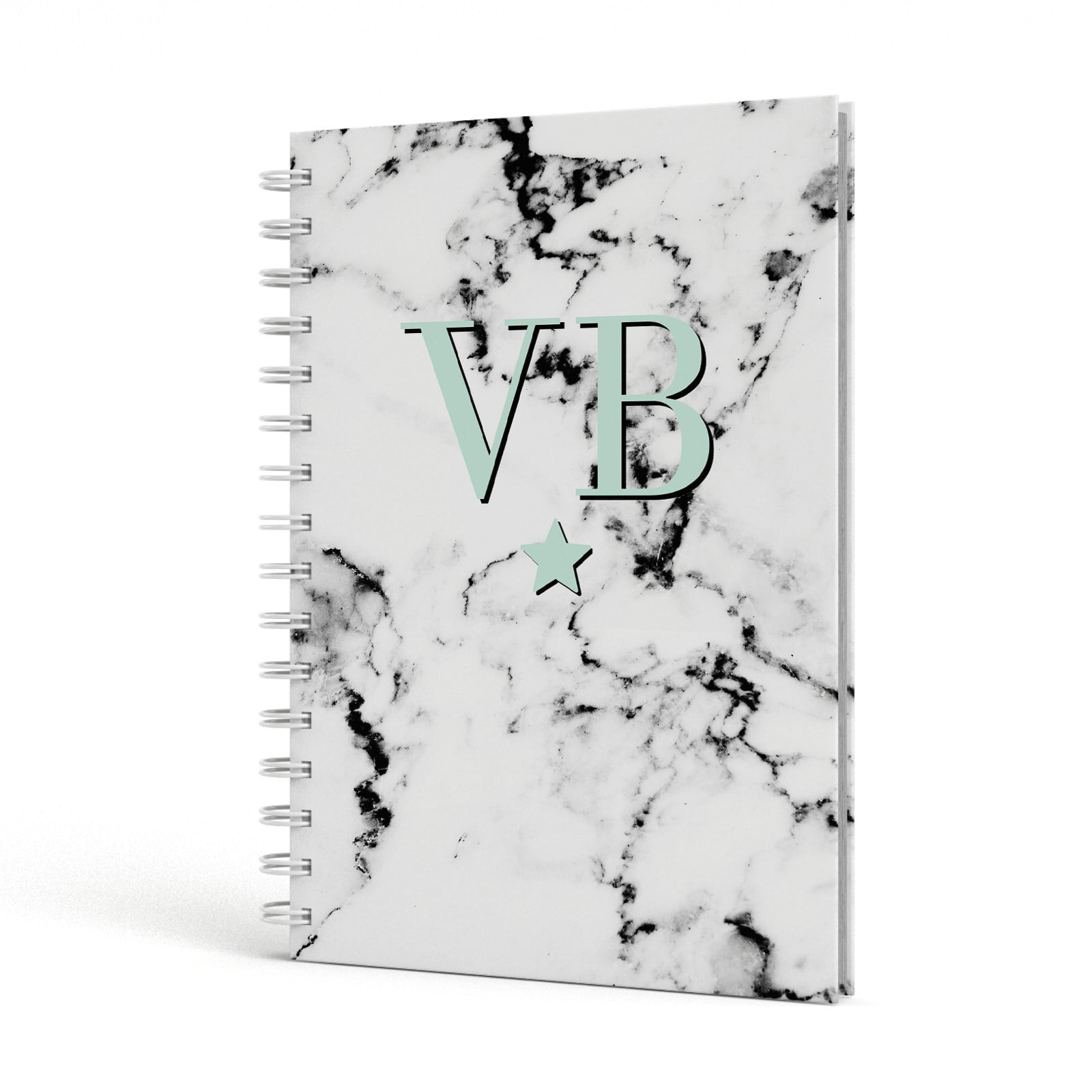 Personalised Mint Star With Monogram Marble A5 Hardcover Notebook Side View