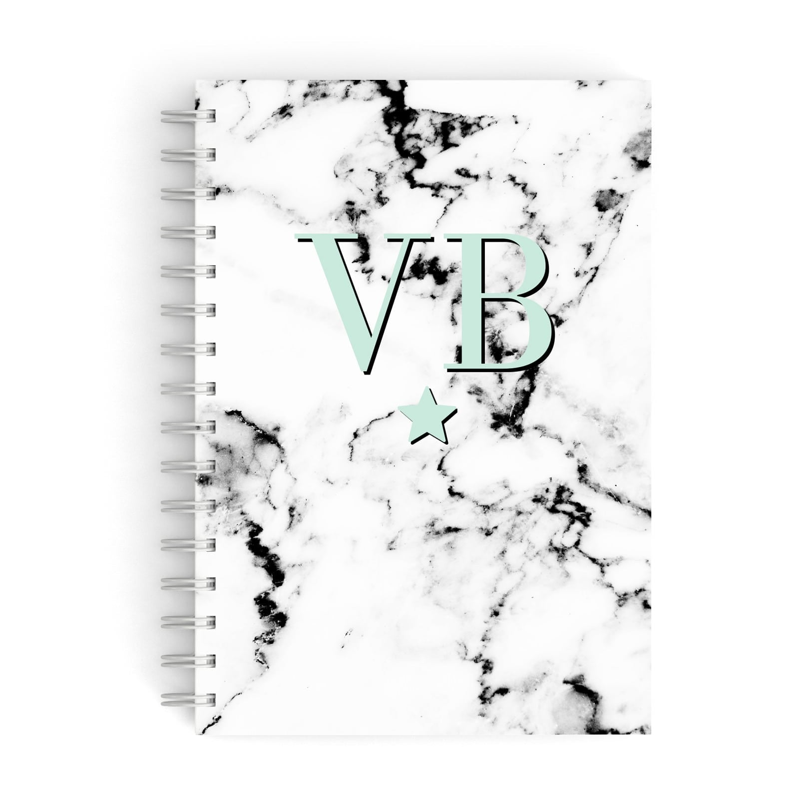 Personalised Mint Star With Monogram Marble A5 Hardcover Notebook