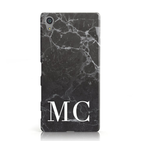 Personalised Monogram Black Marble Sony Xperia Case